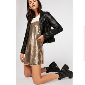 Free People Time to Shine Gold Sequin Dress
